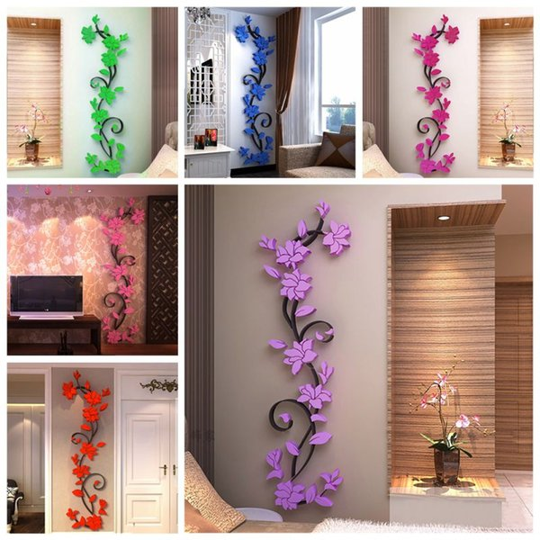 3D Vase Flower Tree DIY Removable Art Vinyl Wall Stickers Decal Mural Home Decor For Home Bedroom wedding decoration