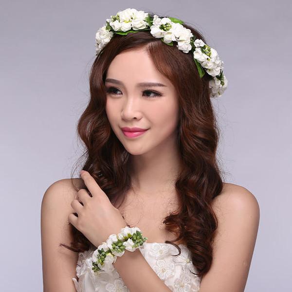 Wedding Hair Jewelry Handmade Flower Tiaras Bridal Crown Bridemaids Head Flower 5 Colors Lace Adjustable