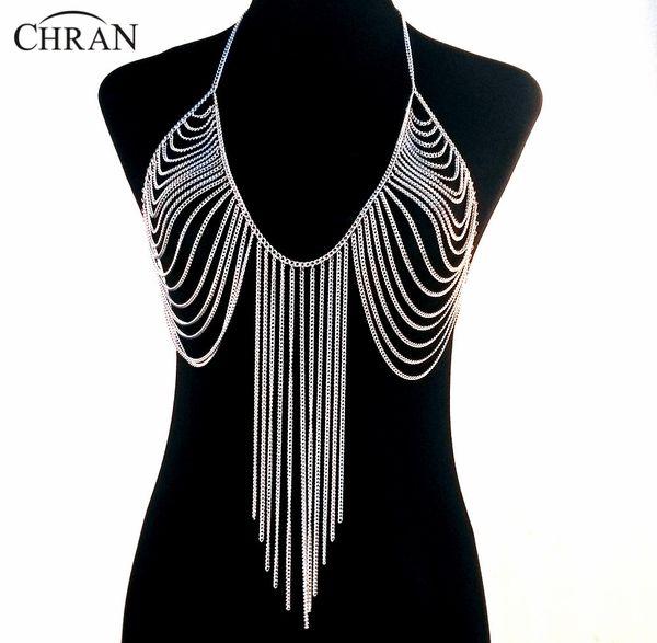 Wholesale-19 Designs Luxury Fashion Stunning Sexy Body Belly, Silver Gold Tone Body Chain Bra Slave Harness Necklace Tassel Waist Jewelry