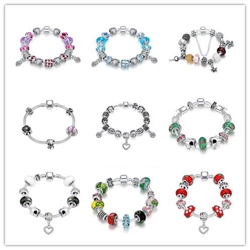 Mixed Hot Charm Bead Bracelet 925 sterling silver jewelry top quality classic queen style Europe Hot free shipping 9 pcs/lot
