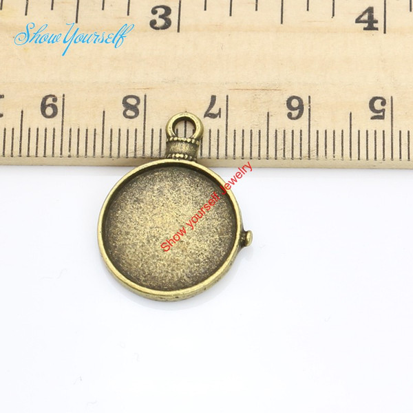 20pcs Antique Silver Bronze Plated Round Photo Frame Charms Pendants for Necklace Jewelry Making DIY Handmade Craft 15mm