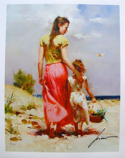 "High Quality genuine Pure Hand Painted Portrait Art oil Painting On Thick Canvas Multi Size,PINO DAENI ""SEASIDE WALK"""