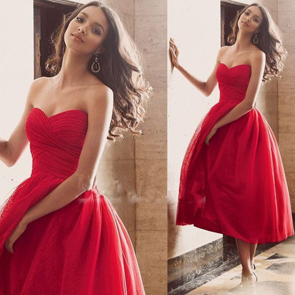 Hot Sale Sweetheart Red Tulle Short Evening Dresses Tea Length Simple Prom Party Dresses Plus Size For Custom Made