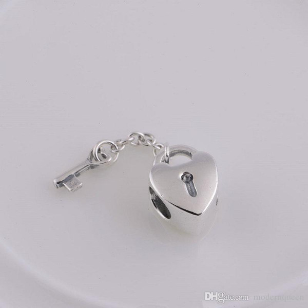 Heart charms lock key S925 sterling silver fits for pandora style bracelets free shipping aleCH081H9
