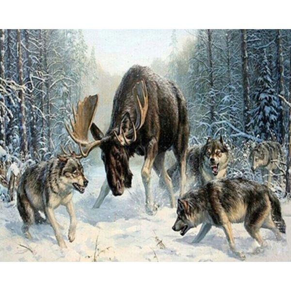 Loup sans cadre bricolage peinture par numéros animaux à colorier par numéro peinture acrylique sur toile pour le salon mur oeuvre