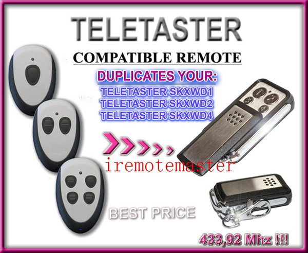 Aftermarket Teletaster SKXWD1/SKXWD2/SKXWD4 remote control replacement garage door remote with 433.92MHZ free shopping