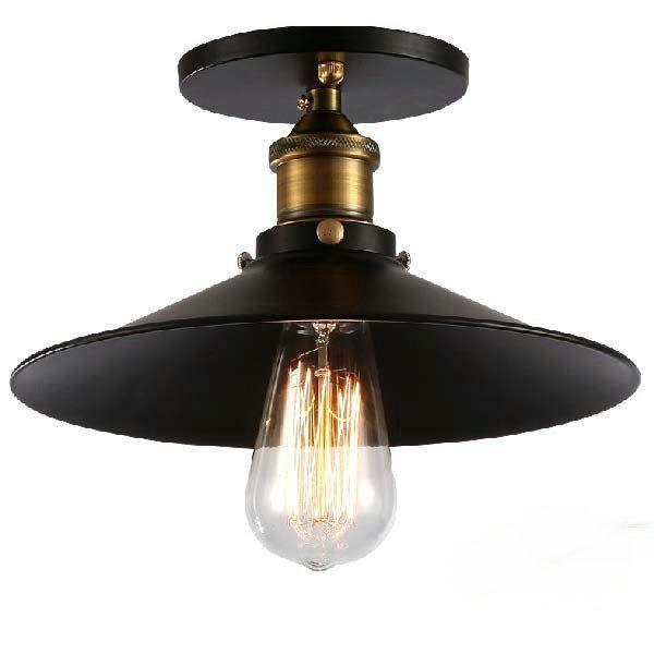 huge selection of 2f1c7 6d516 Industrial Retro Vintage Flush Mount LAMP Black Metal Shade Ceiling Pendant  Lamp Loft America Light Fixture Pendant Light Parts Pendants Lighting From  ...