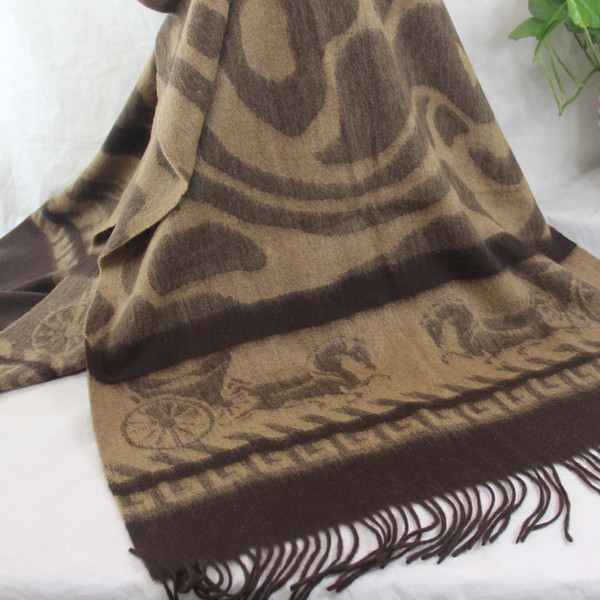 top popular New soft cashmere scarf ladies shawl wrapped woman 70X200CM 100% cashmere oversized four-layer fashion jacquard Brown Khaki 179 2021