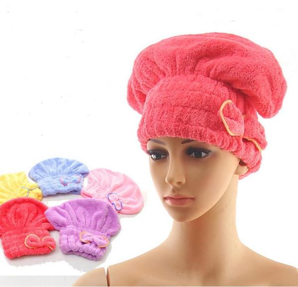 Cabello mágico Rápido Seco Toalla Cap Bath Wrap Twist Hat Bowknot Soild Quick Dry Cap Head Para Mujeres Señoras Herramientas de Baño