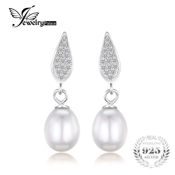 JewelryPalace 925 Sterling Silver Freshwater Cultured 8-9mm White Pearl Dangle Earrings Statement Fine Jewelry for Women