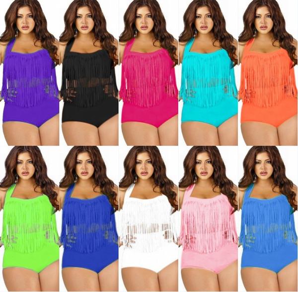 2016 Newest Summer Plus Size Tassels Bikinis High Waist Sexy Women Bikini Swimwear Padded Boho Solid Swimsuit free shipping