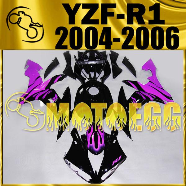 Fünf Geschenke Motoegg Motorrad Fairings Spritzguss Für Yamaha YZF-R1 2004-2006 YZF R1 04 05 06 Karosserie YZFR1 Verkleidung Schwarz Lila Y14M06