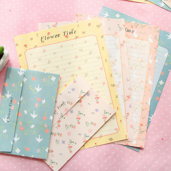 top popular Wholesale-P16 1 Set=6 Paper + 3 Envelope Floral Flower Time Writing Greeting Birthday Wedding Letter Paper Home Decor 2021