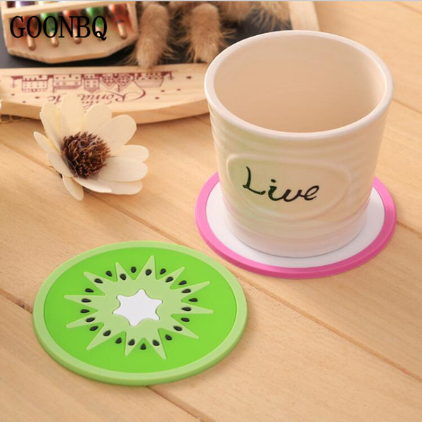 Wholesale GOONBQ 5pcs set 9 cm Fruit Shape Cup Mat Silicone Heat