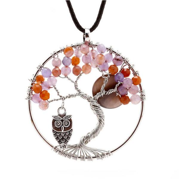 Heißer Verkauf Baum des Lebens Charm Anhänger Kristall Halskette Edelstein Schmuck Eule Vögel Dekoration Geburtstagsgeschenke