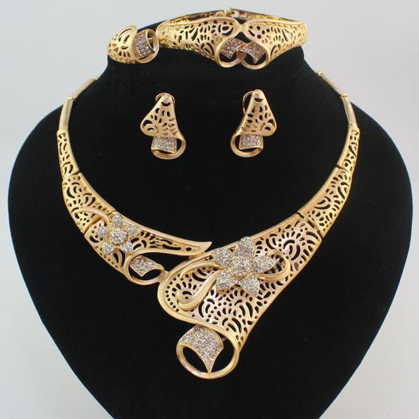 Fashion Women 18K Gold Plated Africa Dubai Wedding Party Flower Necklace Earring Bracelet Rings Jewelry Sets