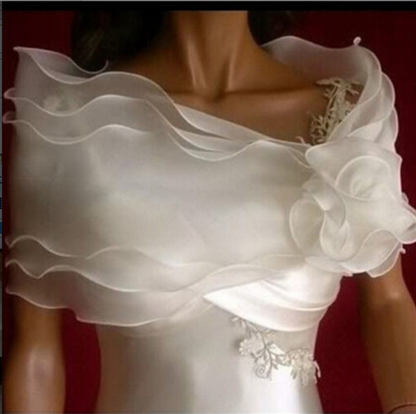 Cheap Sexy Flower Ruffles Vintage Boat Neck Half Sleeves Wedding Jackets 2016 Wedding Bolero Wedding Accessories