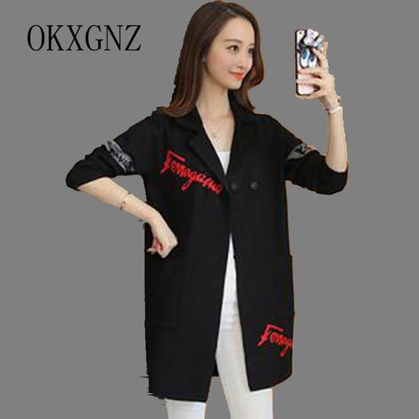 Großhandel-OKXGNZ Frühling Frauen Kleidung 2017 Korea New Fashion Big Yards Freizeit Mantel Strickjacke Mittellange Anzug Mantel QQ113