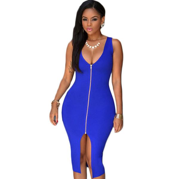 Hot Sale Royal Blue Front Zip Sexy Club Dress 2016 V-neck Sleeveless Tank Split Dress Vestido Casual Party Midi Dresses White Black dress