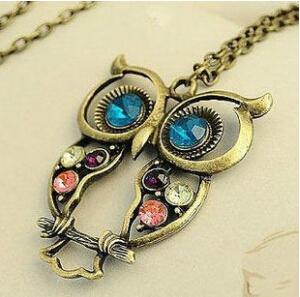N058 2016 Hot selling Crystal Owl Pendant Necklace Vintage long chain necklace women gift animal costume jewelry necklace