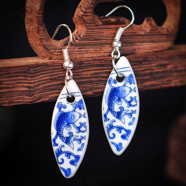 Mix Styles China Ceramic Earrings Original Hand-painted Chinese Style Characteristics Retro Charm Earring Wholesale Free Shipping