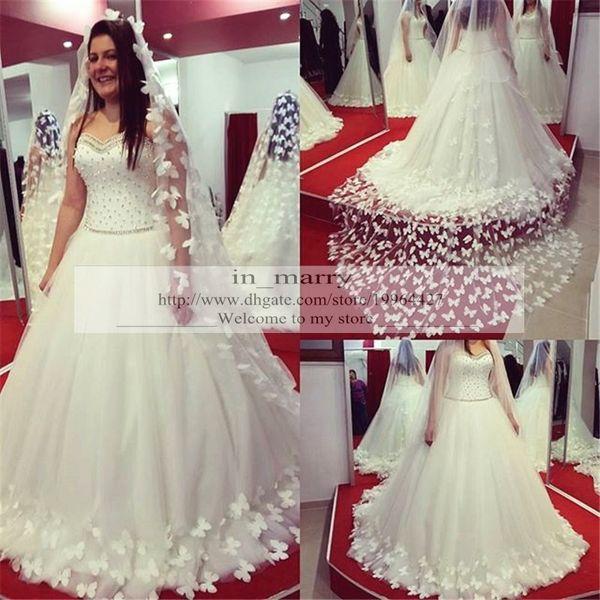 Discount Design 3d Butterfly Wedding Dresses 2016 A Line