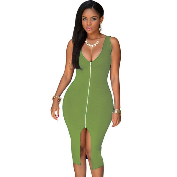 S-XL Sexy Dress Club Plus Size Women Party Dresses Bodycon Sundress Package Hip Midi Summer Dress Zipper Front Plunge Midi Dress 60399