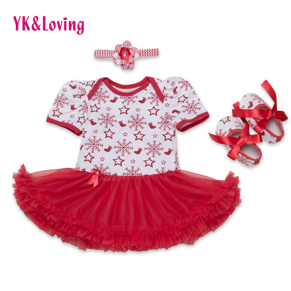 Wholesale- Snowflake 2016 Infant Baby Girl Clothes Red Short Sleeve Clothing For Christmas tutu Dress Ruffle 3Pcs Newborn Clothes 0-2years