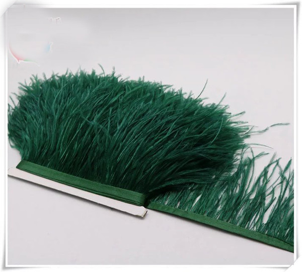 Wholesale 10yards/lot dark green 5-6 inch in width ostrich feather trimming fringe for dress sewing crafts skirt supply
