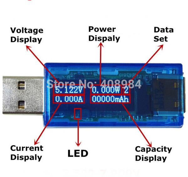 USB 3.0 QC 2.0 quick charge digital display voltage current meter 4 bit OLED detector voltmeter ammeter power capacity tester