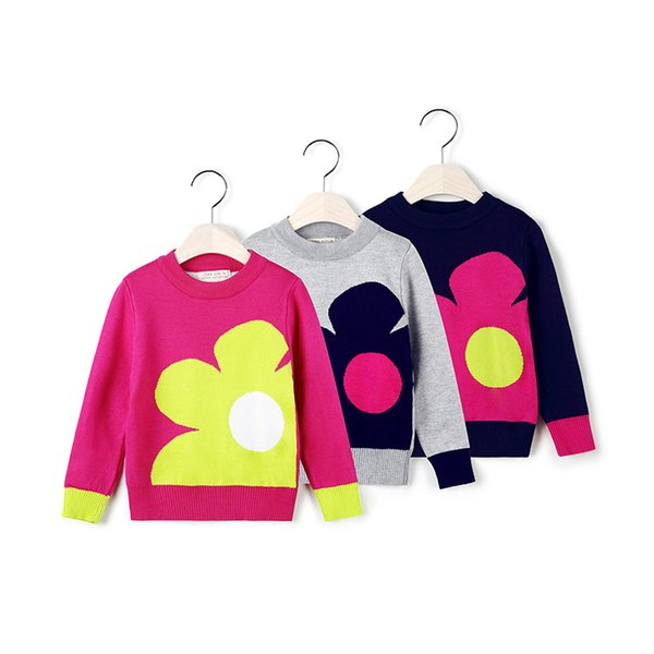 a32a679c9a52 5 pieces lot girls cute sweaters 100% cotton made hig quality big flower  knits