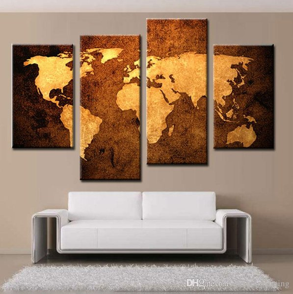 4 Picture Combination Prints Canvas Old Map Wall Art Canvas Paintings Home Decoration Painting Murals Impression For Living Room