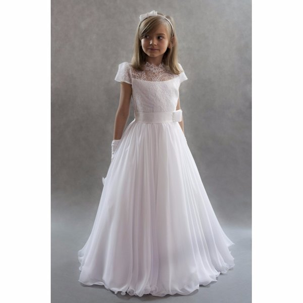 Lace Flower Girls Dresses Lovely Jewel Neck Vintage Short Sleeves Chiffon Girls Pageant Gowns with Sash Princess Kids Wedding Party Dress