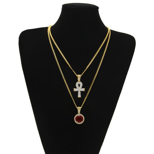 top popular Egyptian Ankh Key of Life Bling Cross Pendant With Round Red Ruby Pendant Necklace Set Men Fashion Hip Hop Jewelry 2020