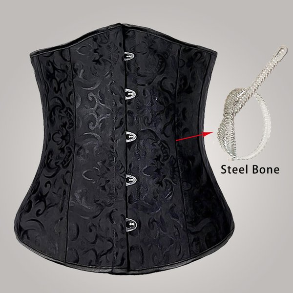 top popular Free shipping!! Full Steel Boned Corsets Cincher Underbust Corset Black Waist Training corsets sexy corselet 8903 2019