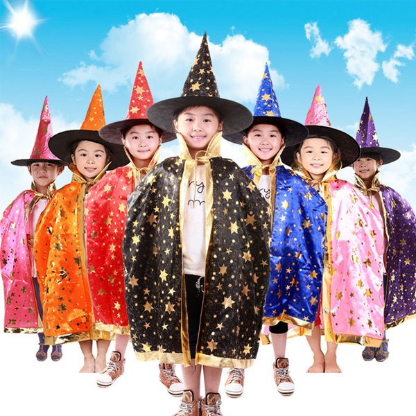 2016 boy girl kids children halloween costumes witch wizard cloak gown robe and hat cap stars