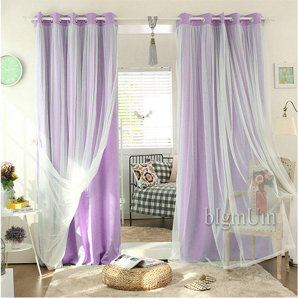 best selling New Arrival Lace Curtains Solid Blackout Curtains + White Tulle Elegant Fairy Curtains Ready Made Custom-made Yellow Pink Green Brown