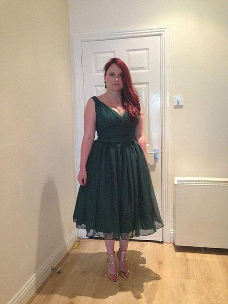 Compre Vestidos De Fiesta De Los Años 50 De Color Verde Esmeralda Longitud Del Té De La Vendimia Más Tamaño Gasa Elegante Corto Formal Vestido De