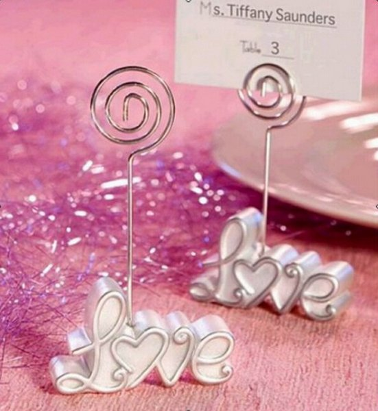 best selling Wedding gifts White Resin Love Place Card Holders Seat Clip For Bridal favors party gifts DHL Free Shipping