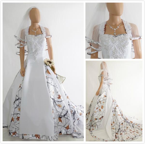 Modest branco vestidos de casamento de camuflagem árvore imprimir uma linha cabeçada de cetim capela trem camo vestidos de casamento vestido de noiva custom made on-line