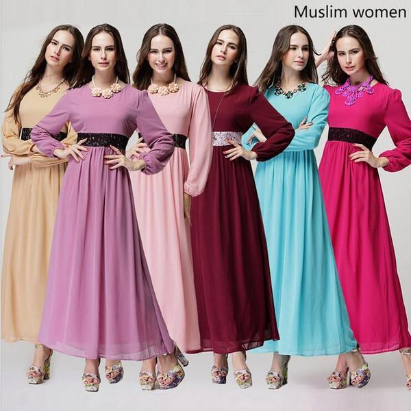 Womens Long-sleeved Cheap Casual Dresses Malay Muslim Pakistani National Dress Ethnic Clothes Summer Chiffon Maxi Dresses for Women