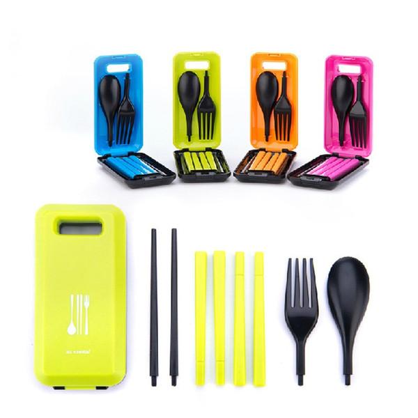 Ensembles de vaisselle pliables sécuritaires Baguettes en plastique Cuillère Fourchette Kit de vaisselle portative pour pique-nique en plein air Bento Lunch Box Accessoires 7 6fn BZ