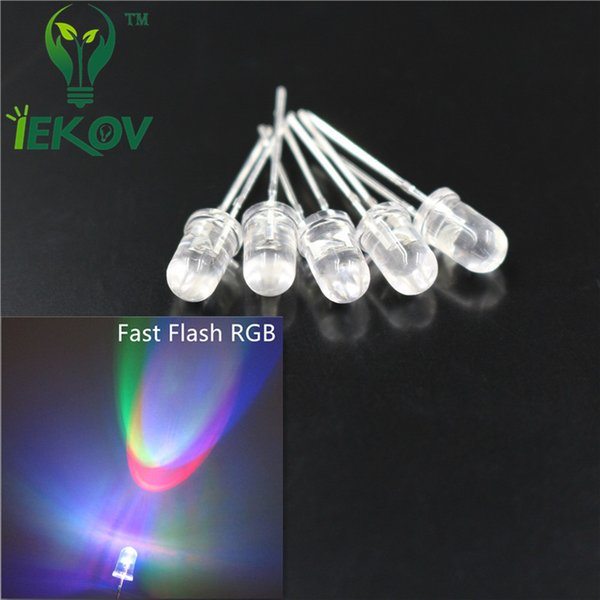 5000pcs/lot 5MM Fast RGB Flash Red Green Blue LED Rainbow MultiColor Emitting Diodes Round Strobe LEDs Lamp LIGHT Active Components Wholesal