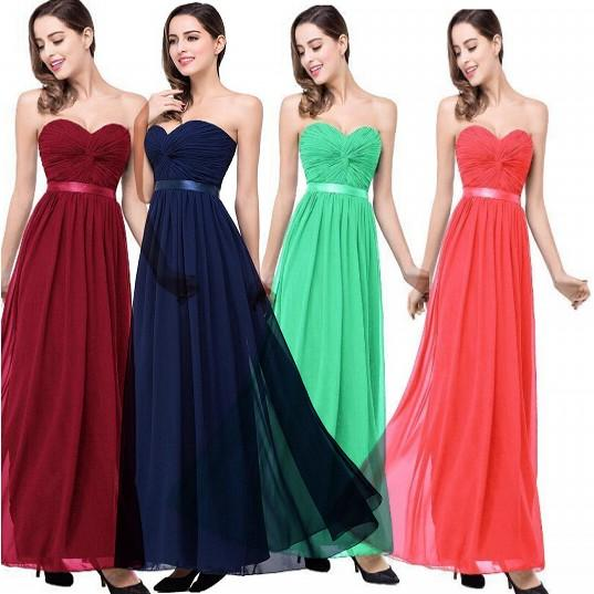 In Stock A Line Bridesmaid Dresses Long Simple Cheap Dark Red Navy Sweetheart Chiffon Evening Party Gowns with Low Back CPS263