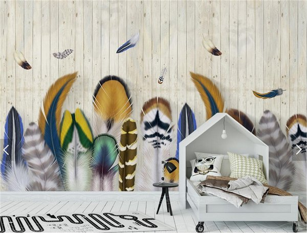 Großhandel Bunte Feder Holz Tapete Striped Large Size Wandbild Für Kinder  Schlafzimmer Wohnzimmer Dekorative Non Woven Printing Tapeten Von Fumei66,  ...