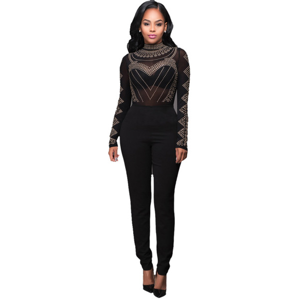 Wholesale- Jumpsuits For Sexy Bodysuit Women 2016 Sexy See Through Women Black Mesh Jumpsuit Long Sleeve Party Sequined Bodycon Calvn Woman
