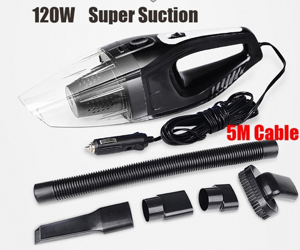 Portable Auto Accessories 5M 120W 12V Car Vacuum Cleaner Handheld Mini Super Suction Wet And Dry Dual Use Vaccum Cleaner For Car