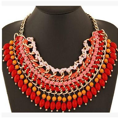 Bohemian Ethnic ZA*A Style Multilayer Necklace Droplets Pendant Tasse Bib Choker Statement Necklace For Women Fashion Jewelry Christmas