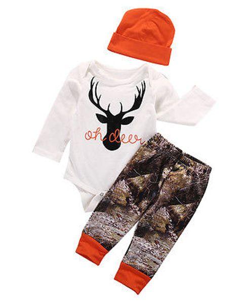 Christmas Baby Boys Girls Deer Romper Set Pajamas Reindeer Clothes Tops+ Trouser+ Hat 3PCS Set Outfits Organic Cotton Newborn Baby Toddler