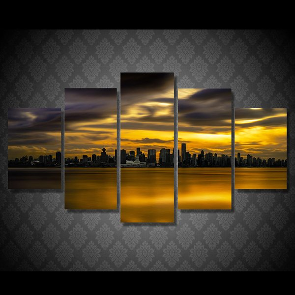 5 Pcs/Set HD Printed City view sunset Painting Canvas Print room decor print poster picture canvas cheap oil paintings